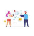 girl throws data to laptop guy mobile phone vector image