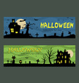halloween banners design haunted house vector image vector image