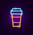 hot coffee neon sign vector image vector image