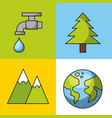 icons set nature vector image