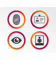 identity id card badge icons eye symbol vector image vector image