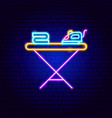 ironing board neon sign vector image