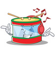 listening music toy drum character cartoon vector image vector image