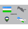 Map of Uzbekistan and symbol vector image vector image