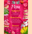 menu on wedding main courses desserts appetizers vector image