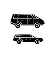 minivan black icon concept minivan sig vector image vector image