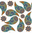 paisley seamless pattern in green brown and dark vector image