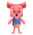 pig standing still on white background vector image vector image