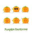 pumpkin smiles cute cartoon emoticons emoji icons vector image vector image