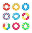 realistic detailed 3d life buoy swimming rings set vector image vector image