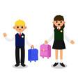 schoolboy and schoolgirl in school uniform vector image vector image