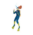 scuba diver in wetsuit show ok gesture isolated on vector image