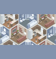 seamless pattern with isometric rooms vector image