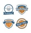set basketball vintage design labels vector image