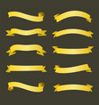 set golden ribbons banners design vector image
