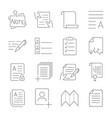 simple set of document flow management line vector image