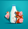 two cows standing near the bottle of milk vector image vector image