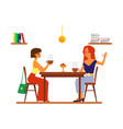 two girl friends drinking tea or coffee beside vector image vector image