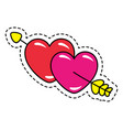 two hearts broken arrow isolated patch vector image