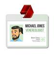 venereologist identification badge man id vector image