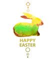 Watercolor Easter card with rabbit vector image
