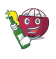 with beer fresh ripe mangosteen isolated on mascot vector image