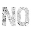 word no for coloring decorative zentangle vector image vector image