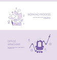 working process and office armchair concept vector image vector image