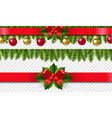 xmas frame with holly berry set transparent vector image