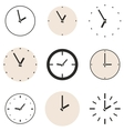Clock icon set beige and black clocks isolated vector image