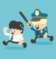 Concept businessman running away police vector image