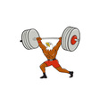 Bald Eagle Weightlifter Lifting Barbell Cartoon vector image vector image