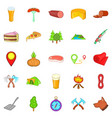 bbq lunch icons set cartoon style vector image