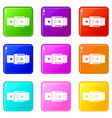 belt with square buckle set 9 vector image vector image