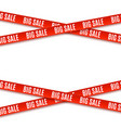 big sale red banners ribbons isolated on white vector image