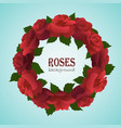 bright red rose and green leaves wreath vector image