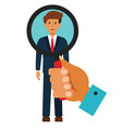 businessman search with magnifying glass cartoon vector image