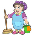 cartoon cleaning lady vector image
