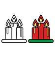 christmas candles icon on white background vector image
