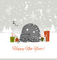 christmas card design with sleeping cat vector image