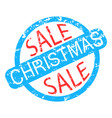 christmas sale rubber stamp colored isolated on vector image