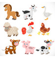 cute cartoon farm animals set isolated on a white vector image