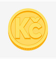 czech koruna symbol on gold coin vector image vector image