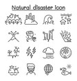 disaster icon set in thin line style vector image