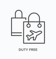 duty free flat line icon outline vector image
