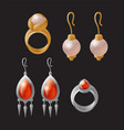 earring and ring collection vector image