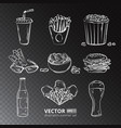 fast food icons isolated on transparent vector image