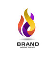 fire flame colorful logo vector image vector image