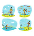 fishing sport icon of fisherman with fish vector image