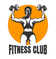 fitness club emblem with training woman vector image vector image